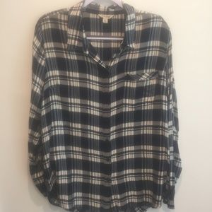 Lucky Brand Bungalow Plaid Button Down Navy XL